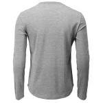 H2H Mens Casual Slim Fit Henley T-Shirt Long Sleeve Gray US M/Asia L (CMTTL139)
