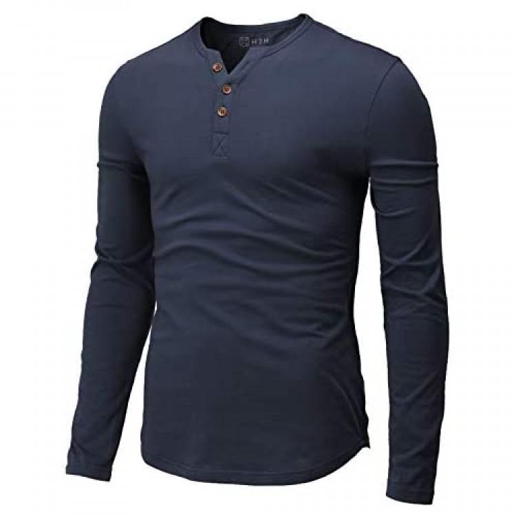 H2H Mens Casual Slim Fit Henley T-Shirt Long Sleeve Indigo US 2XL/Asia 3XL (CMTTL139)