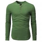 H2H Mens Casual Slim Fit Henley T-Shirt Long Sleeve Kale US L/Asia XL (CMTTL139)