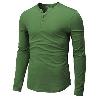 H2H Mens Casual Slim Fit Henley T-Shirt Long Sleeve Kale US L/Asia XL (CMTTL139)