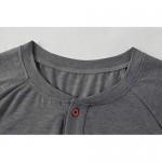 Hestenve Mens Casual Long Sleeve Henley T-Shirts Slim Fit Front Placket Cotton Shirts