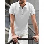 iWoo Men's Short Sleeve Shirt Cotton Linen T-Shirt Henley Blouse Beach Tops for Man