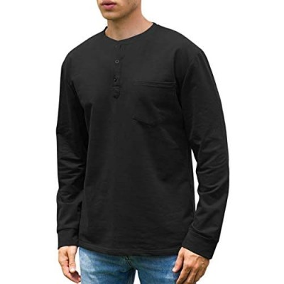 Janmid Men's Casual Long Sleeve Henley Pocket T-Shirts Cotton Shirts