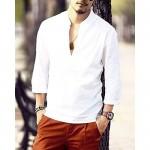 Karlywindow Mens Summer Casual Linen Henley Shirts Long Sleeve Solid Shirt