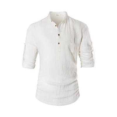 KEYBUR Beloved Mens Henley Neck Long Sleeve Popover Daily Look Linen Shirts