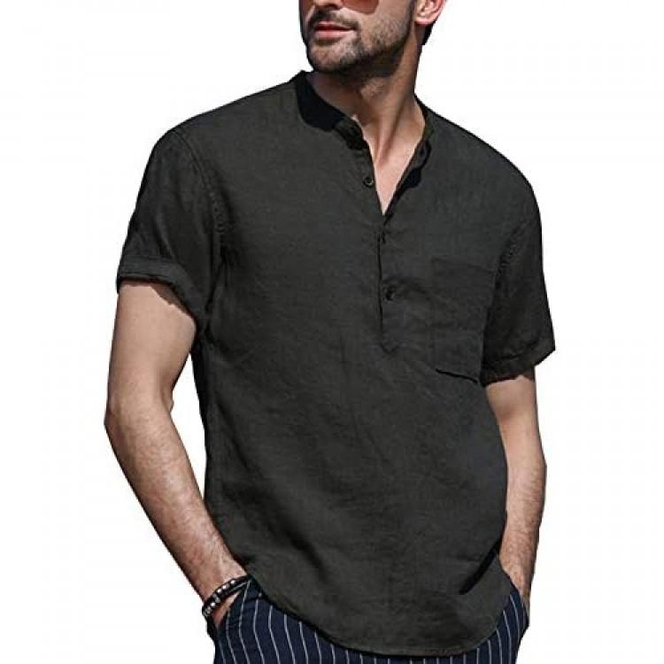 LecGee Men's Cotton Linen Henley Shirt Long Sleeve Casual T-Shirt Yoga Tops