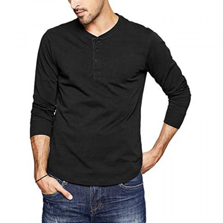 LecGee Men's Henley Shirt Long Sleeve Casual Henley Top with 3 Button Regular Fit Basic T-Shirts