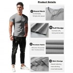 LecGee Men's Henley Shirt Short Sleeve Casual Henley Top with 3 Button Regular Fit Basic T-Shirts