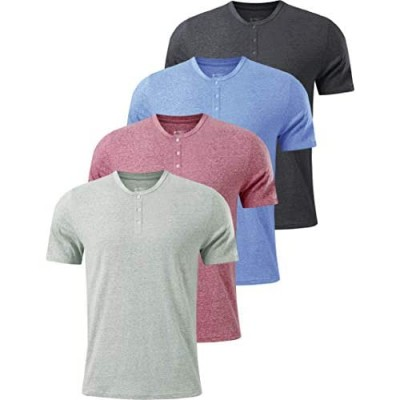 Liberty Imports Pack of Men's Henley Shirts Casual Triblend Basic Lightweight Short Sleeve T-Shirts