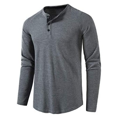 LOCALMODE Men's Casual Crew Neck Long Sleeve T Shirts of Waffle Henley