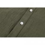 Makkrom Men's Linen Henley Shirt Deep V Neck Long Sleeve Hippie Casual Beach Yoga Cotton T Shirts