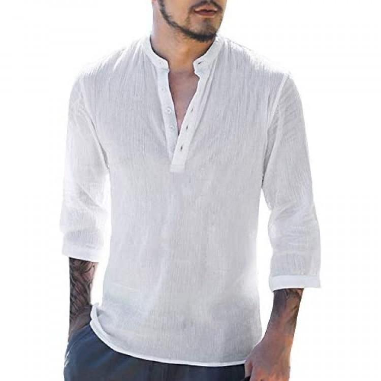 Makkrom Mens Linen Henley Shirts Long Sleeve Summer Casual Loose Fit Beach T-Shirt Tops