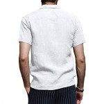 Makkrom Mens Linen Henley Shirts Short Sleeve Loose Fit Casual Beach Yoga Shirt Tops with Pocket