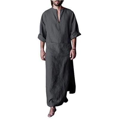 Makkrom Men's V-Neck Long Sleeve Robe Side Split Kaftan Long Gown Thobe for Beach Summer