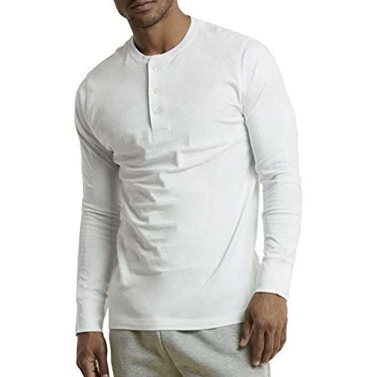 Men's 100% Cotton Casual Premium Long Sleeve 3-Button Henley Shirt
