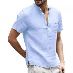 Mens Casual Henley T Shirts Linen Cotton Short Sleeve Button Up Banded Collar Beach Tops with Pocket