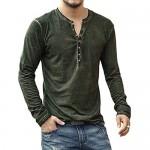 Men's Casual V-Neck Button Long Sleeve Henley T Shirts Lightweight Basic Shirts Tops Green XL