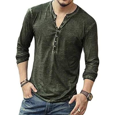 Men's Casual V-Neck Button Long Sleeve Henley T Shirts Lightweight Basic Shirts Tops