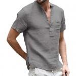 Men's Henley Cotton Linen T-Shirts Short Sleeve Buttons Pocket Summer Beach Tops