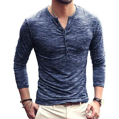 Mens Henleys Shirts Long/Short Sleeve Button Down Shirt V Neck Casual Cotton Fitted Tops