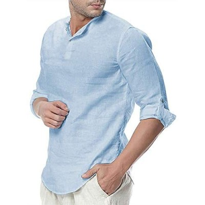 Mens Linen Cotton Henley Shirts 3/4 Sleeve Button Up Tops Summer Tees Beach Rolled Up Casual Hippie Blouses