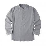 Mens Linen Henley Shirt Causual Long Sleeve Cotton T-Shirt Loose Fit Lightweight Beach Yoga Tops
