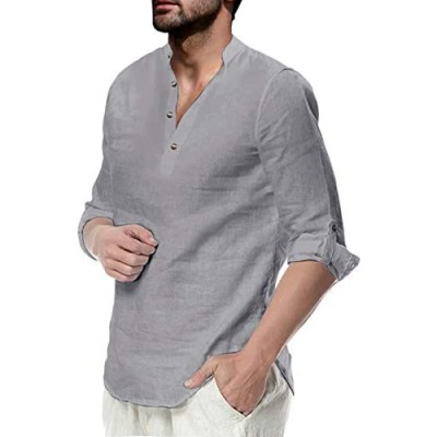 Mens Linen Henley Shirt Causual Long Sleeve Cotton T-Shirt Loose Fit Lightweight Beach Yoga Tops