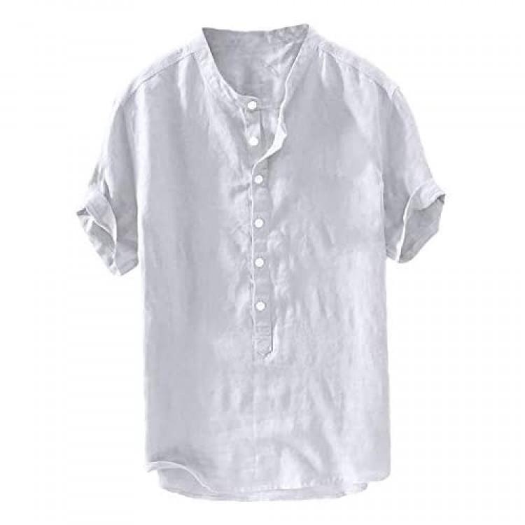 Mens Linen Henley Shirts Short Sleeve Beach Casual Summer Tops Banded Collar Plain Light T Shirt