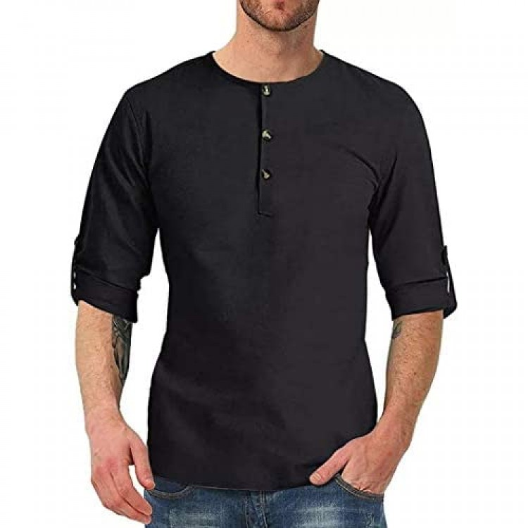 Mens Long Sleeve Crew Neck Henley Shirts Casual Vintage Button-Down Bouse Tops