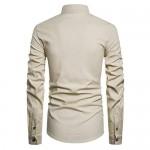 Men's Long Sleeve Henley Neck Shirts Relaxed-Fit Casual Linen Shirt