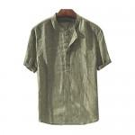 Mens Short Sleeve Henley Shirt Cotton Linen Slim Fit Casual Summer Beach Lightweight Tee Tops
