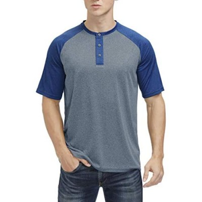 Men's Short Sleeve Henley Shirts Outdoor Sports Performance Dry Fit Casual T-Shirt