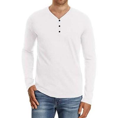 MLANM Mens Casual Slim Fit Basic Henley Short/Long Sleeve Summer Cotton Shirts