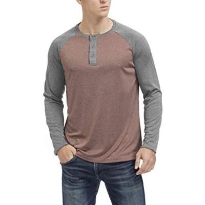 MOHEEN Men's Casual Henley T Shirt Long Sleeve Lightweight Quick Dry Performance Baseball Athletic Running T Shirt