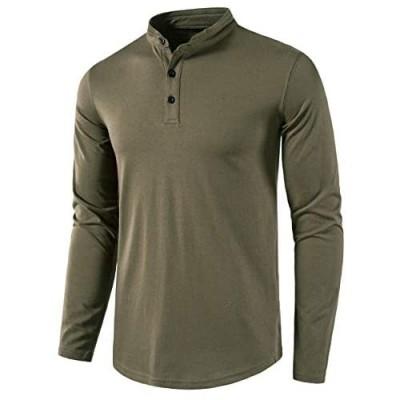 MUSE FATH Men's Long Sleeve Henley Shirt Casual Button Placket T-Shirt