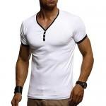 NeedBo Mens Short Sleeve Henleys T-Shirts Slim-Fit Buttons Placket Cotton V Neck T Shirts