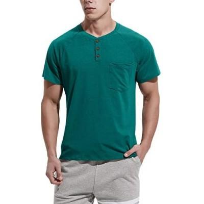 NITAGUT Men's Summer Casual T-Shirts Front Placket Raglan Short Sleeve Henley Shirts with Pocket