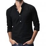 PASLTER Mens Casual Henley Shirt Long Sleeve Lapel Collar Lightweight Cotton Linen Tops with Pockets