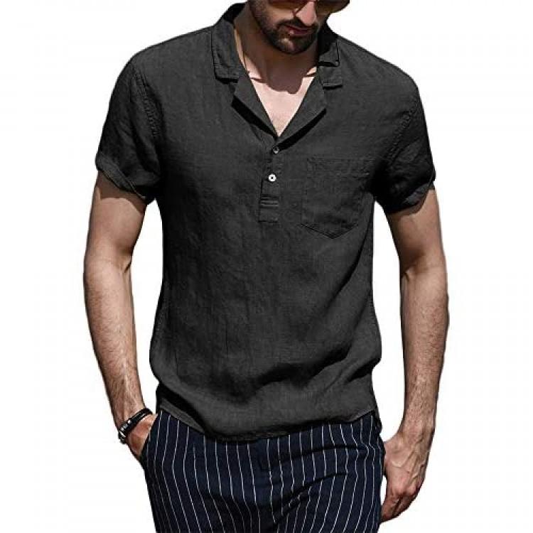 PASLTER Mens Summer Henley Shirts Short Sleeve Cotton Linen Button Hippie T-Shirt with Pocket