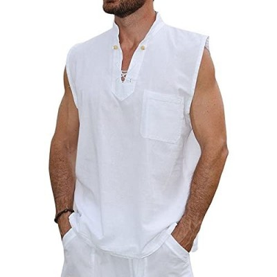 Pure Cotton Men's White Shirt- 100% Cotton Casual Hippie Shirt Long Sleeve Beach Yoga Top | The Perfect Summer Shirts for Men by Ingear (White-MYK
