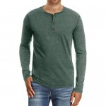 QualityS Mens Casual Front Placket Long Sleeve Henley T-Shirts Cotton Shirts