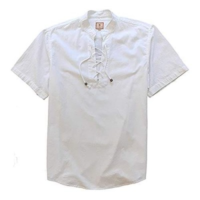 SUNINCANS Men's Casual White Cotton Henley Tops Shirt Loose Summer Beach