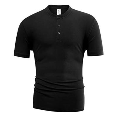 Syrirotus Men's Essential Short Sleeve Henley Button Shirt Plain Casual T-Shirt