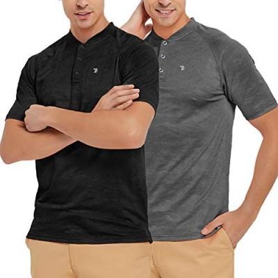TBMPOY Men's Short Sleeve Shirt Slim Fit Workout Trainning T-Shirt Lightweight Casual Henley Shirt