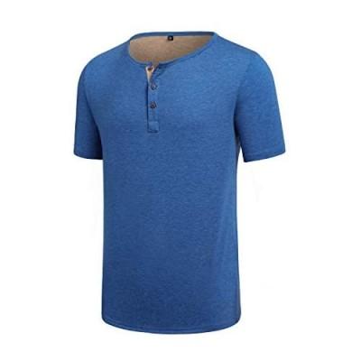 TLQLTS Mens Short Sleeve Henley Jersey Shirt Casual Cotton Regular Fit Tee Tops