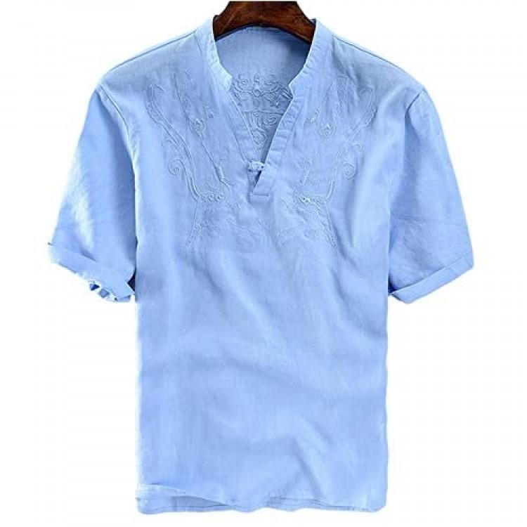 utcoco Men's Retro Frog Button V-Neck Embroidery Linen Henley Shirts Short Sleeve