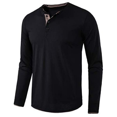 VANCOOG Mens Long Sleeve Casual Lightweight Fitted Basic Henley T-Shirt