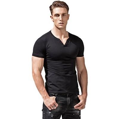 XSHANG Mens Short Sleeve V Neck Henley Shirts Slim Fit Casual Tee
