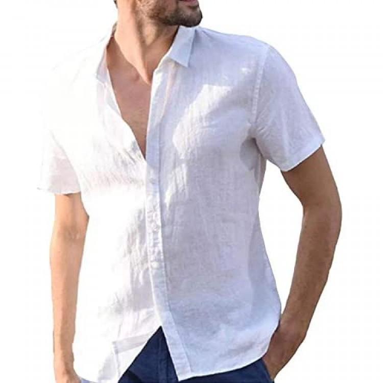 Yangxinyuan Men's Linen Cotton Button Down Shirts Casual Short Sleeve Solid Beach T Shirts