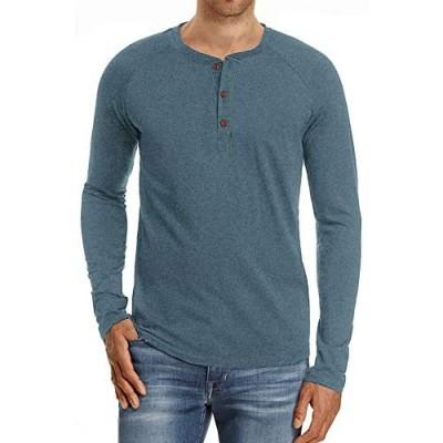 Yingqible Men's Casual Basic Shirts Regular Solid Color Henley T-Shirt Cotton Long Sleeve Sweatshirt